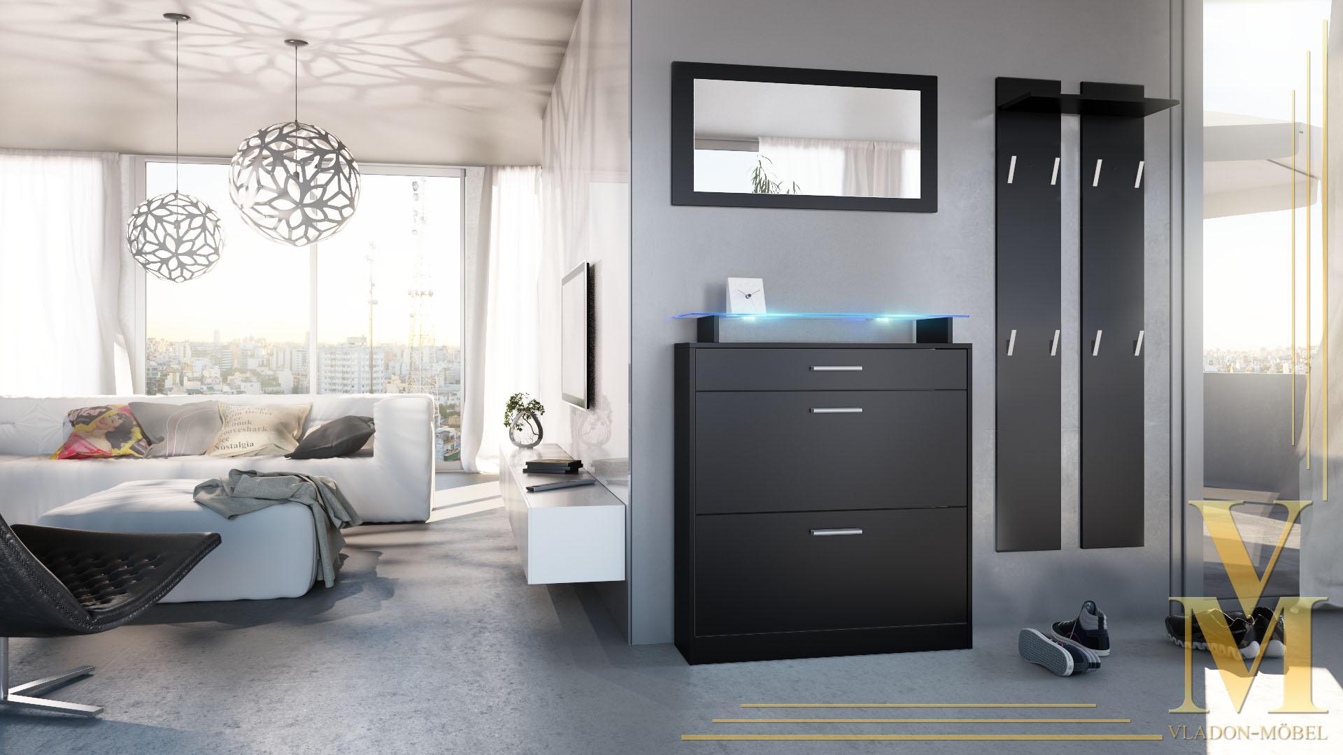 garderobenset garderobe schuhschrank loret mini schwarz. Black Bedroom Furniture Sets. Home Design Ideas
