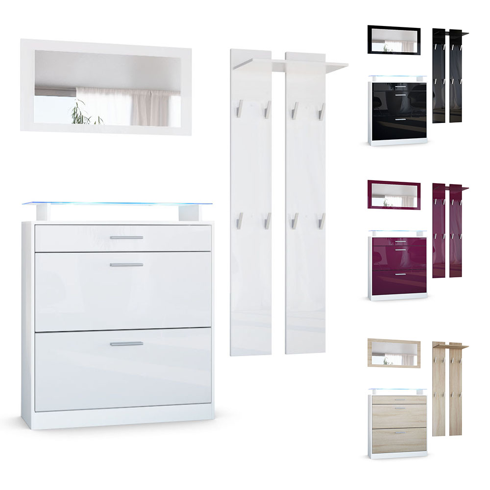 garderobenset garderobe mit schuhschrank loret mini wei hochglanz naturt ne ebay. Black Bedroom Furniture Sets. Home Design Ideas