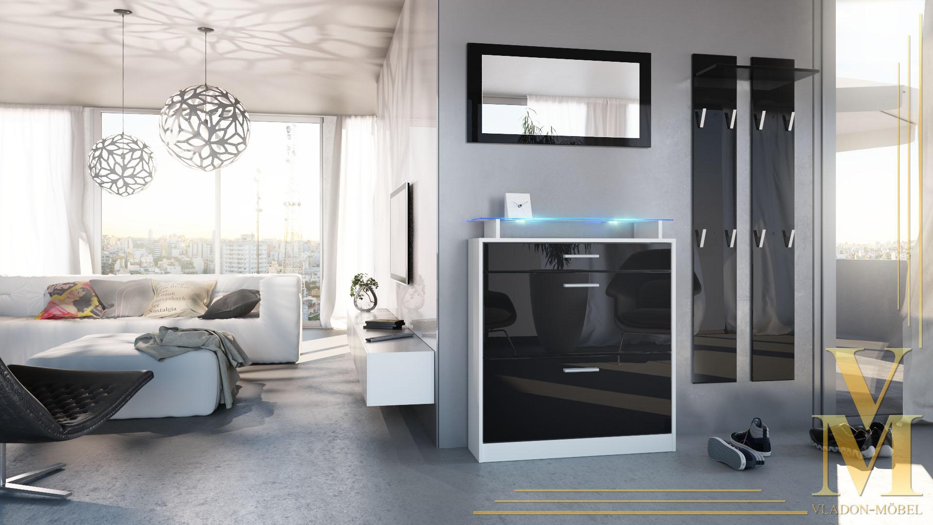 garderobenset garderobe loret mini m spiegel in wei. Black Bedroom Furniture Sets. Home Design Ideas