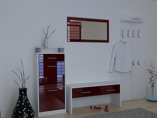 schuhschrank bordeaux hochglanz. Black Bedroom Furniture Sets. Home Design Ideas