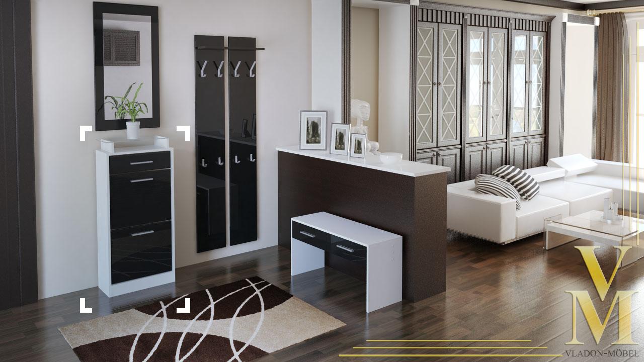 schuhschrank schuhkipper loret v2 in wei schwarz. Black Bedroom Furniture Sets. Home Design Ideas