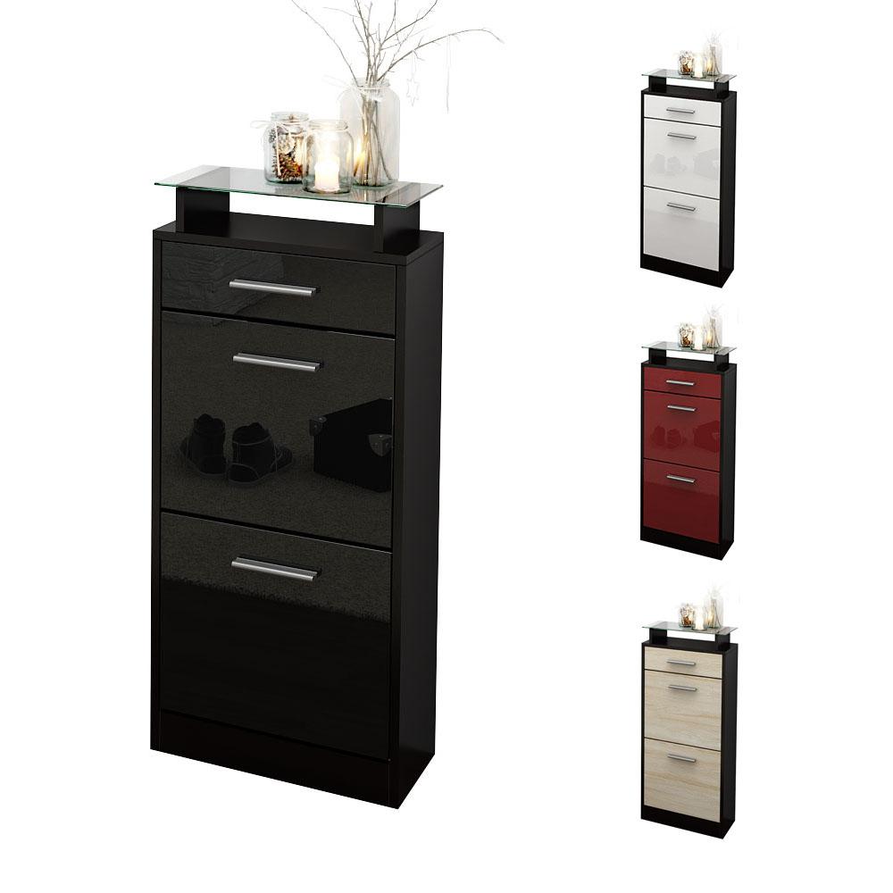 shoe storage rack cabinet loret v2 in black high gloss. Black Bedroom Furniture Sets. Home Design Ideas