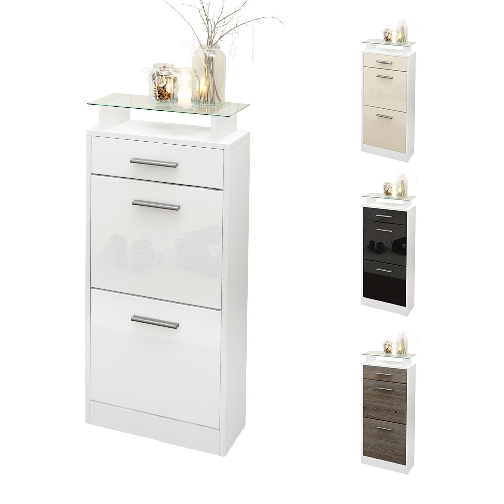 Shoe Storage Rack Cabinet Loret V2 in White - High Gloss ...