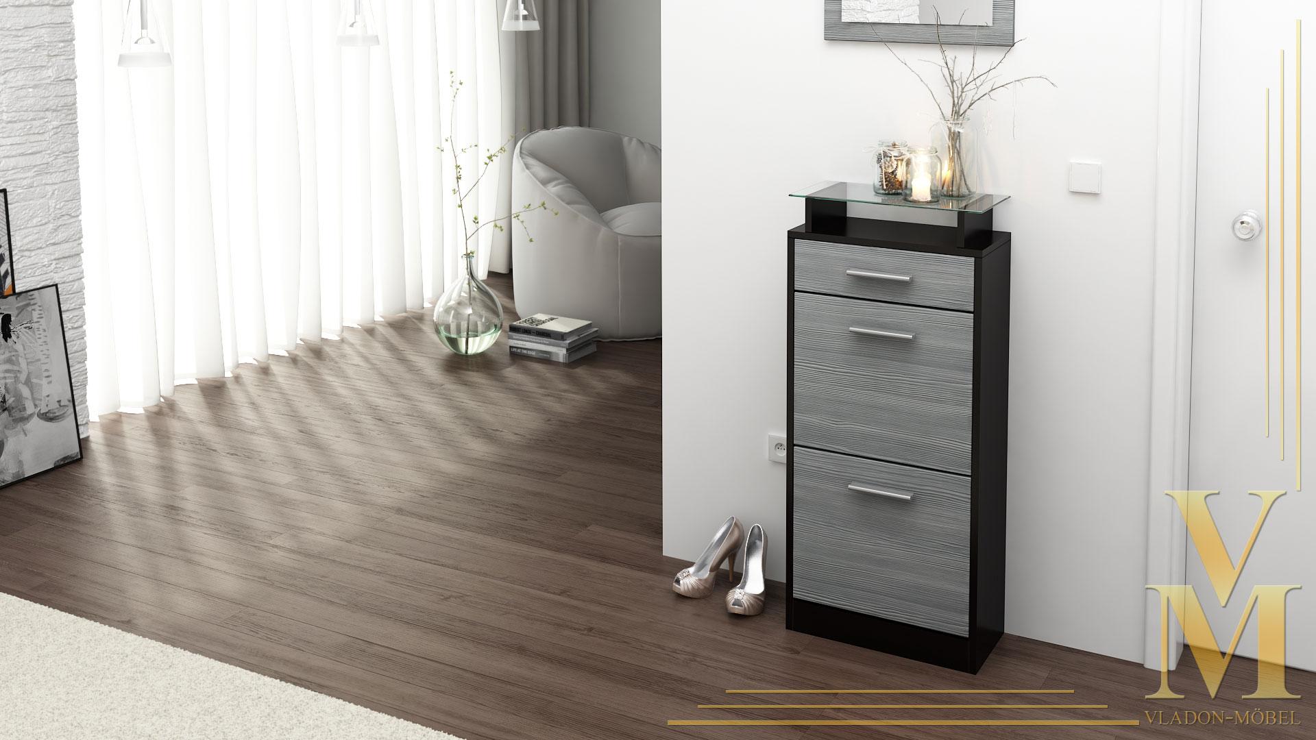 schuhschrank schuhkipper schuh loret v2 in schwarz hochglanz matt naturt ne ebay. Black Bedroom Furniture Sets. Home Design Ideas