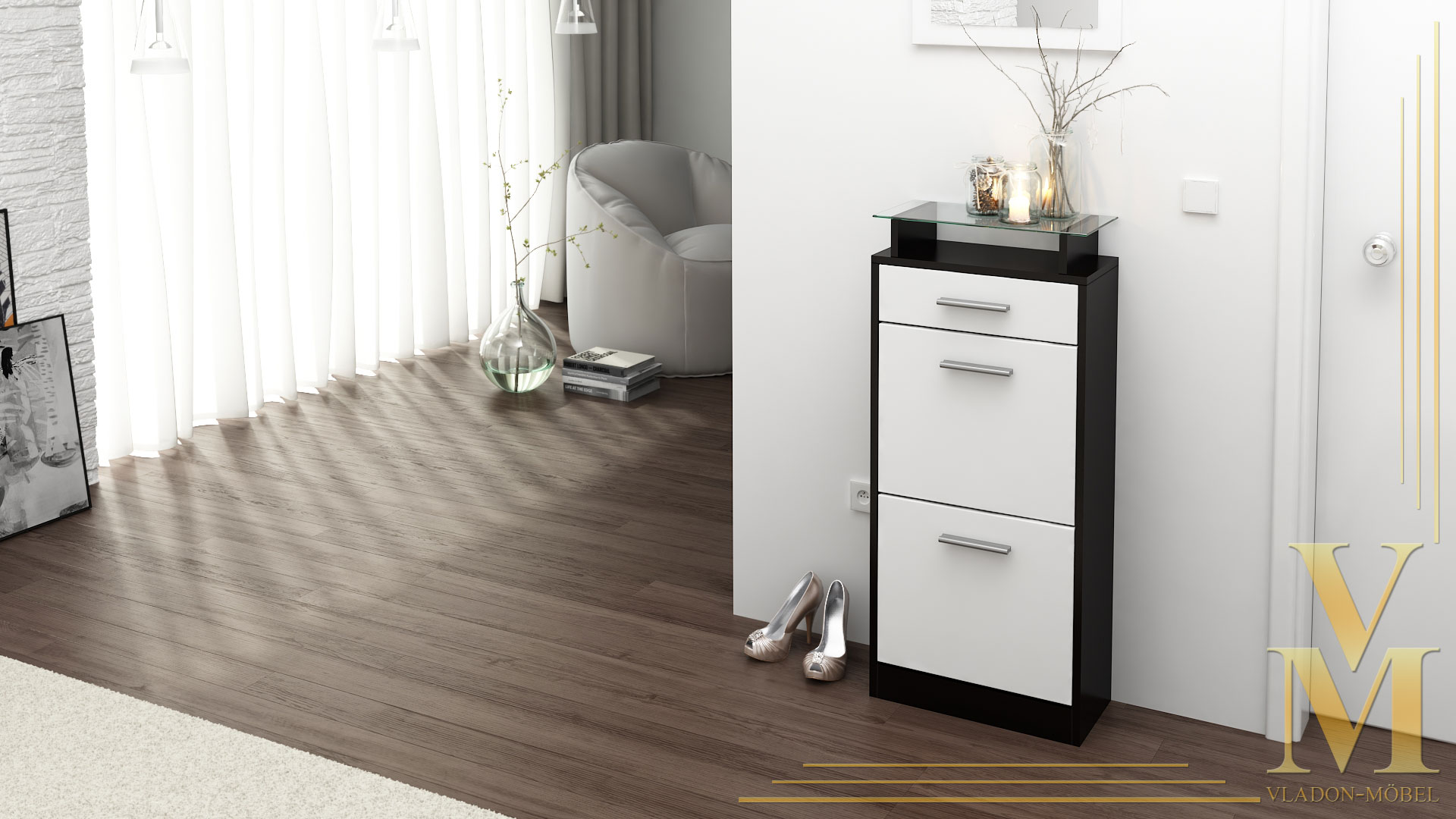 schuhschrank schuhkipper schuh loret v2 in schwarz hochglanz matt naturt ne ebay. Black Bedroom Furniture Sets. Home Design Ideas
