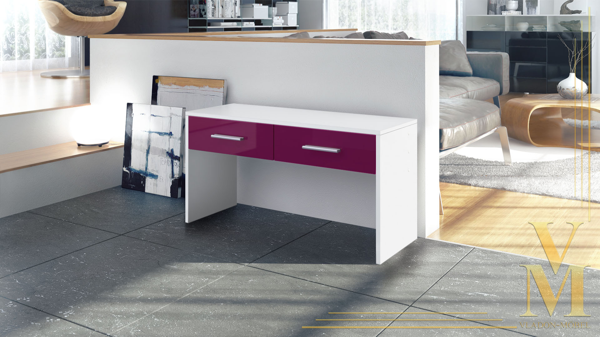 sitzbank schuhbank luna in wei brombeer hochglanz ebay. Black Bedroom Furniture Sets. Home Design Ideas