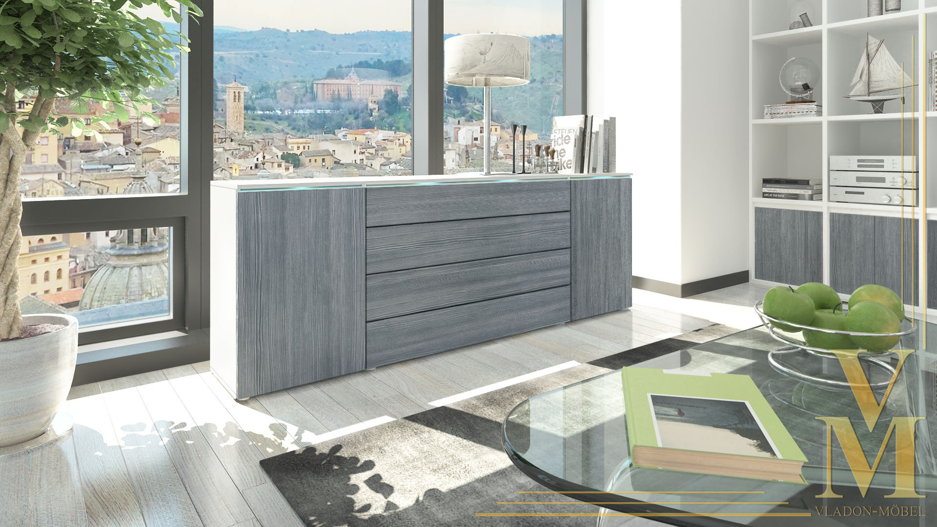 sideboard kommode tv board schrank anrichte madrid wei hochglanz naturt ne ebay. Black Bedroom Furniture Sets. Home Design Ideas