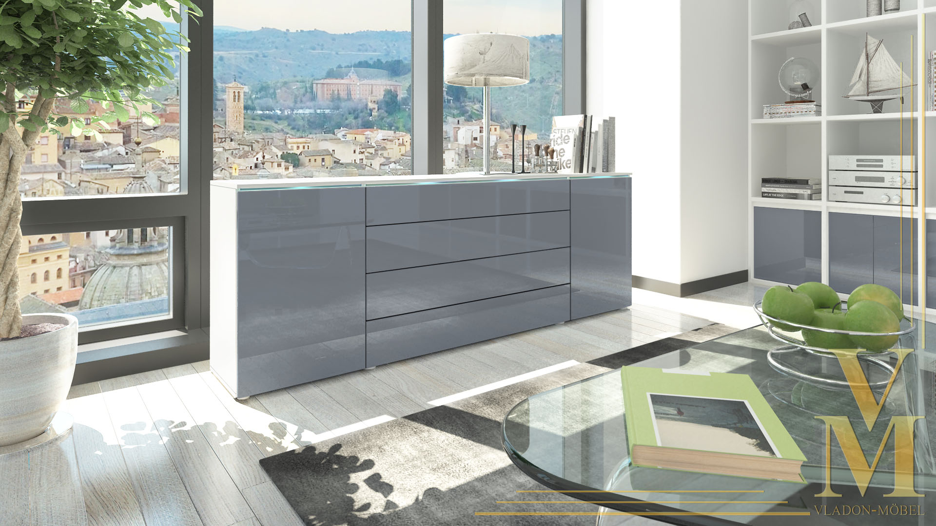 sideboard kommode tv board schrank anrichte madrid wei. Black Bedroom Furniture Sets. Home Design Ideas
