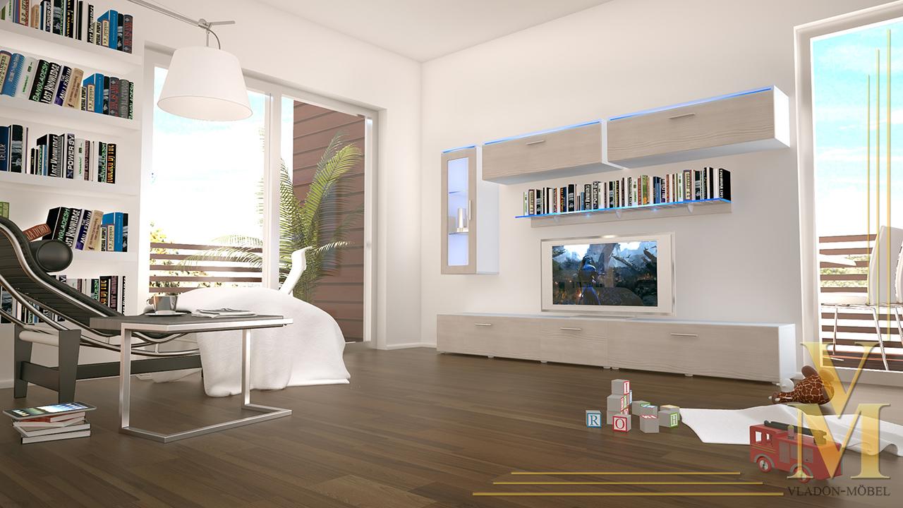 moderne anbauwand wohnwand schrankwand madrid wei in hochglanz oder naturt nen ebay. Black Bedroom Furniture Sets. Home Design Ideas
