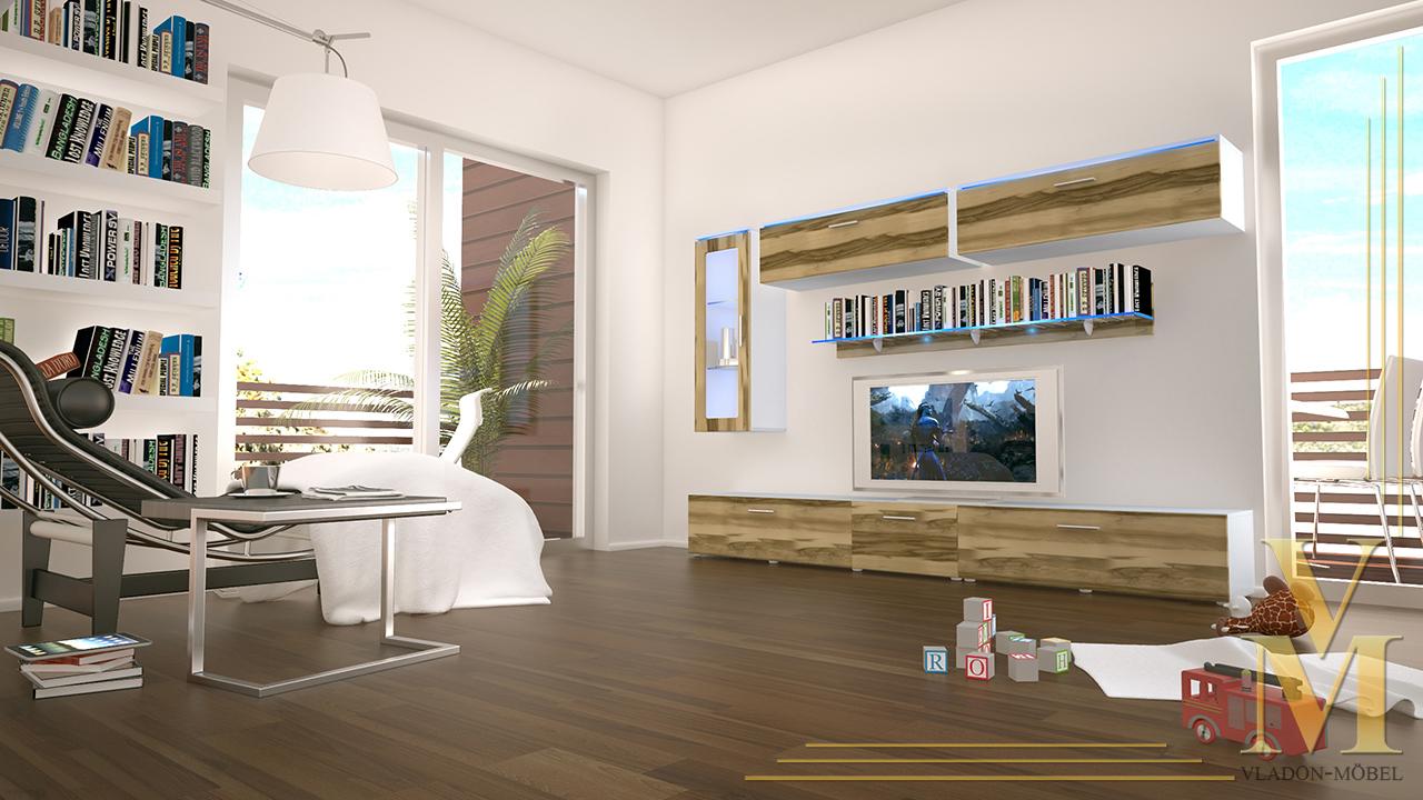 Moderne Anbauwand Wohnwand Schrankwand Madrid Korpus Weiß ...