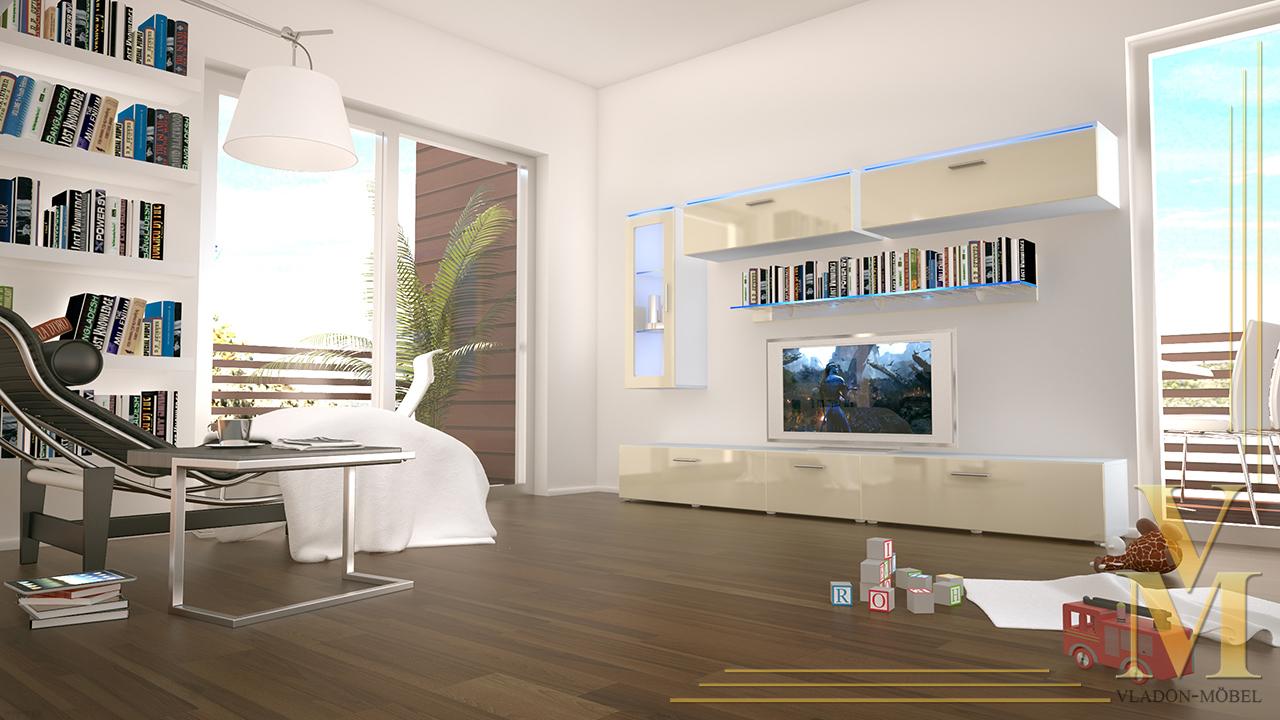 Wohnzimmer Creme Hochglanz : ... Moderne Anbauwand Wohnwand ...