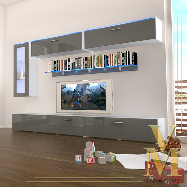 Wall Unit Living Room Furniture Madrid In White Grey Highgloss Ebay