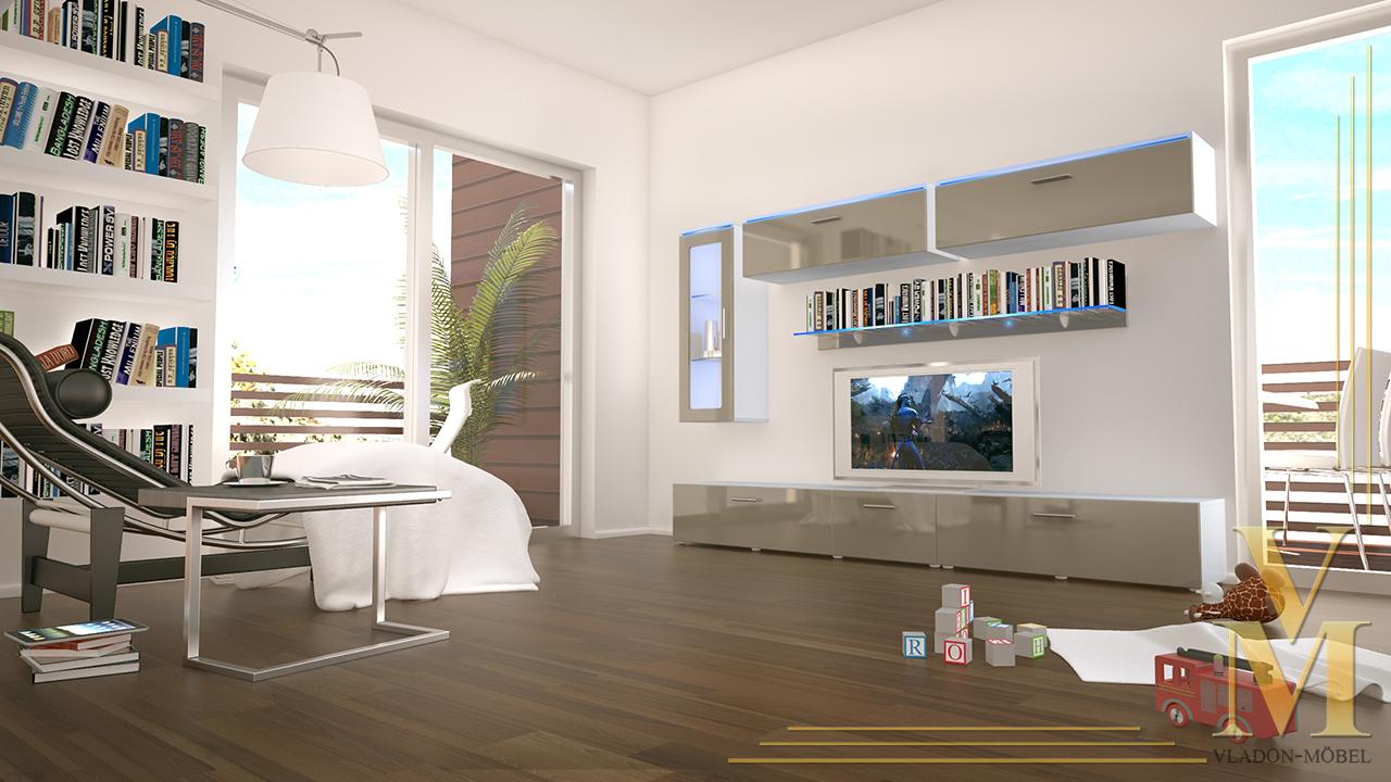 Moderne anbauwand wohnwand schrankwand madrid wei in for Moderne schrankwand hochglanz