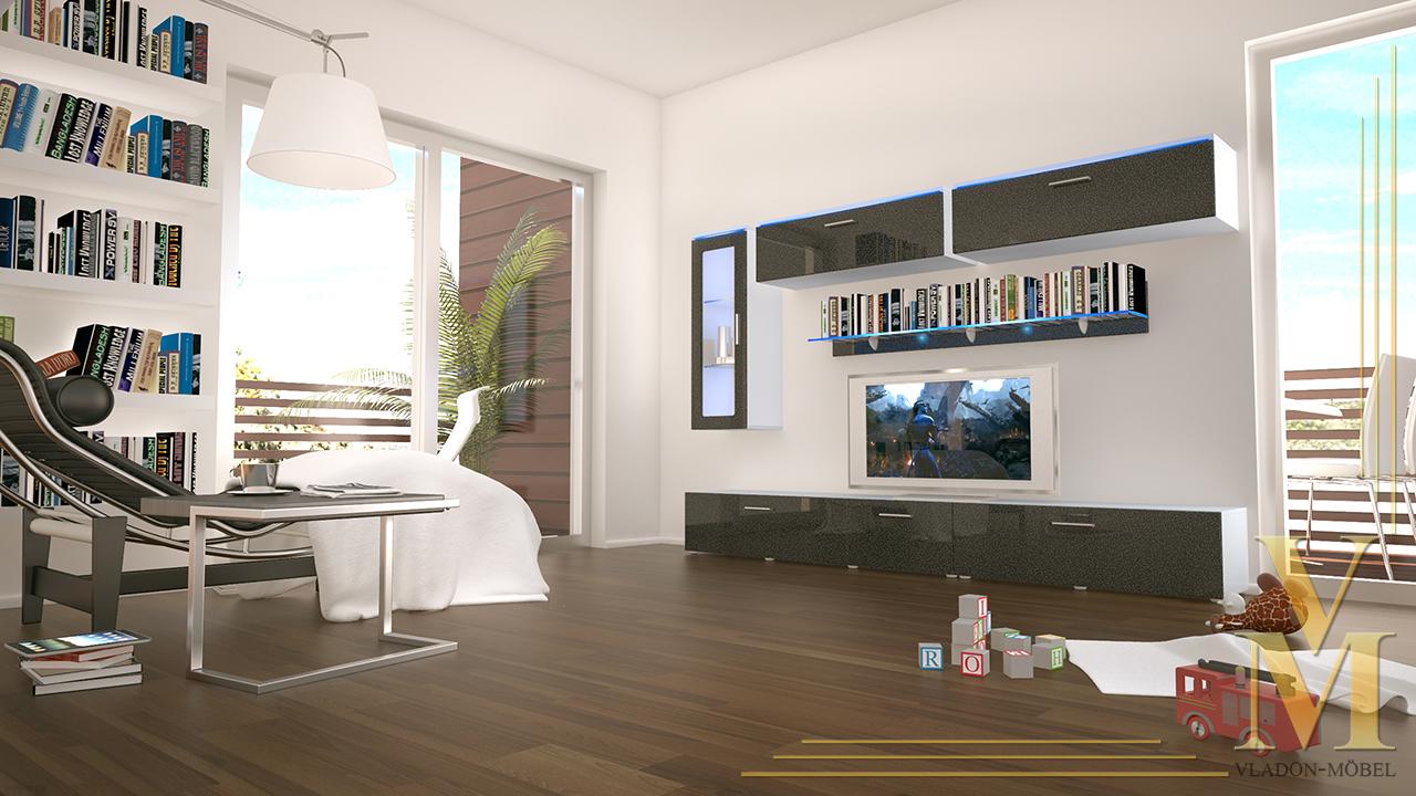 Moderne anbauwand wohnwand schrankwand madrid wei in for Moderne anbauwand