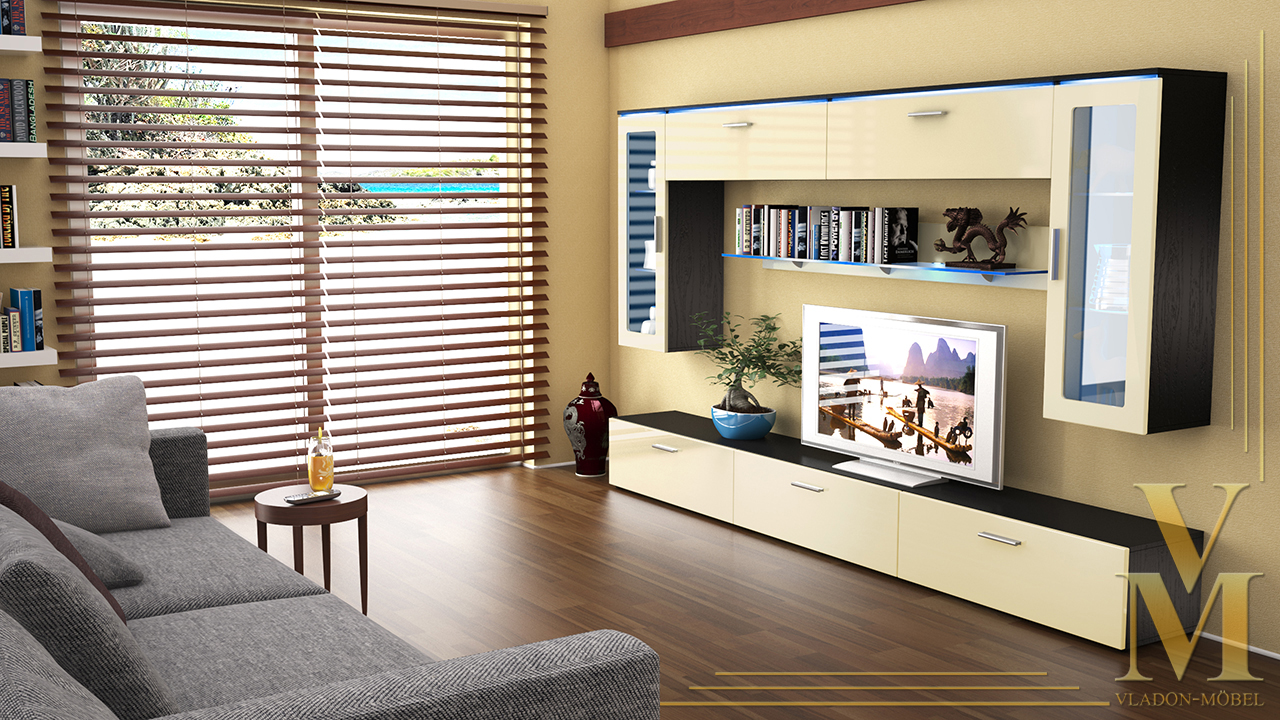Moderne anbauwand wohnwand schrankwand madrid v2 schwarz for Moderne anbauwand