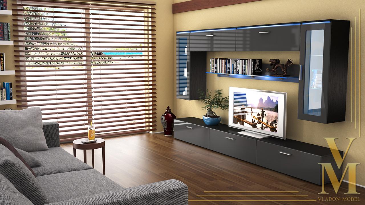 Wohnwand schwarz grau beste bildideen zu hause design for Wohnwand grau schwarz