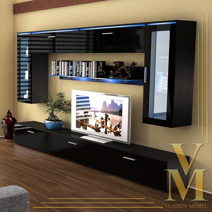 Wall Unit Living Room Furniture Madrid V2 In Black Black