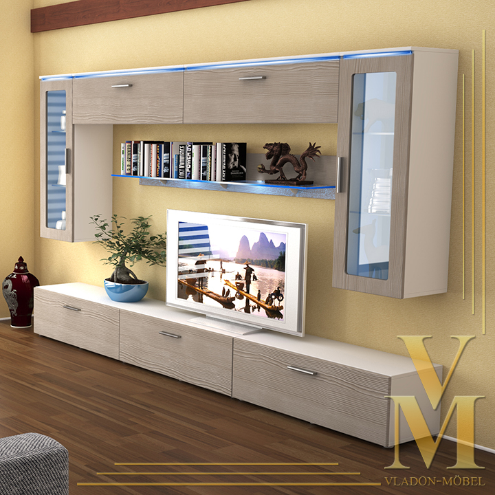 Wall Unit Living Room Furniture Madrid V2 In White Avola