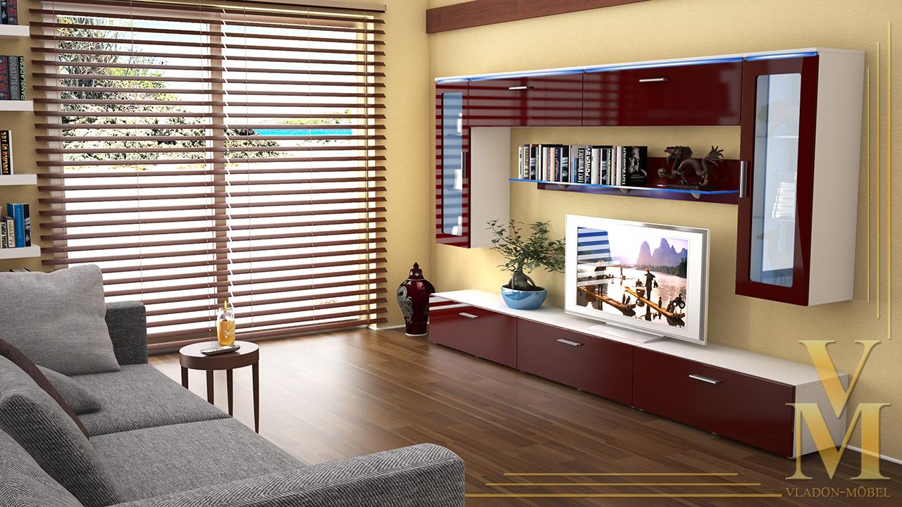 Moderne anbauwand wohnwand schrankwand madrid v2 wei hochglanz naturt ne ebay - Moderne anbauwand ...