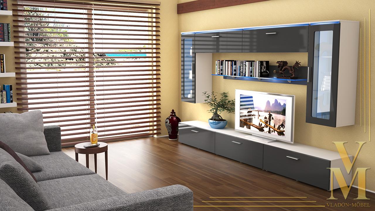 Moderne anbauwand wohnwand schrankwand madrid v2 wei for Moderne schrankwand