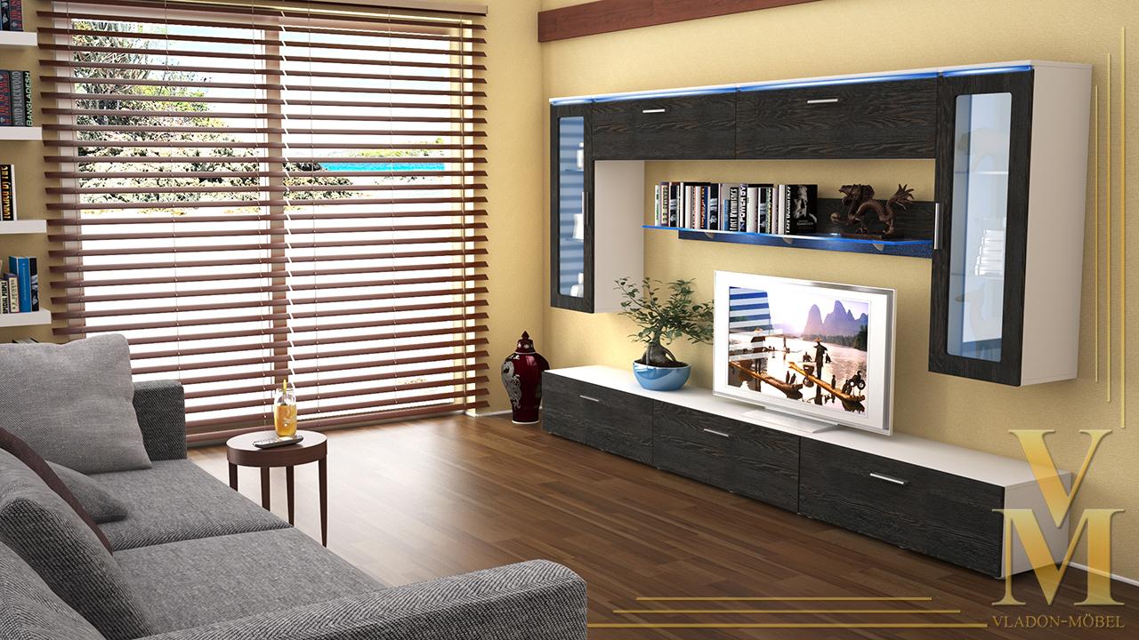 Moderne Anbauwand Wohnwand Schrankwand Madrid V2 Weiß ...