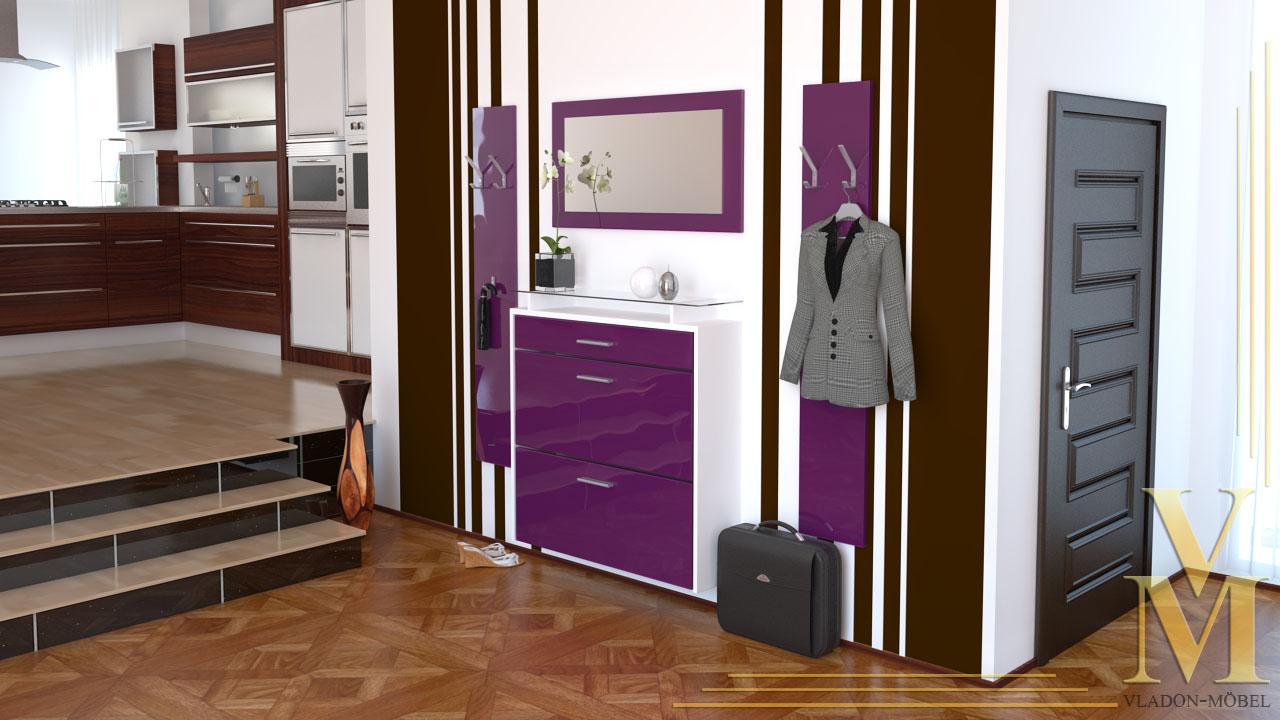 garderobenset garderobe malea mit spiegel in wei brombeer hochglanz ebay. Black Bedroom Furniture Sets. Home Design Ideas