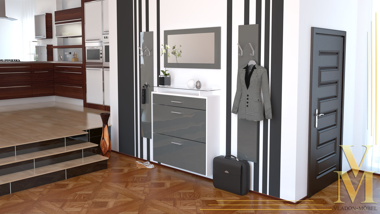 garderobenset garderobe malea mit spiegel in wei grau hochglanz ebay. Black Bedroom Furniture Sets. Home Design Ideas
