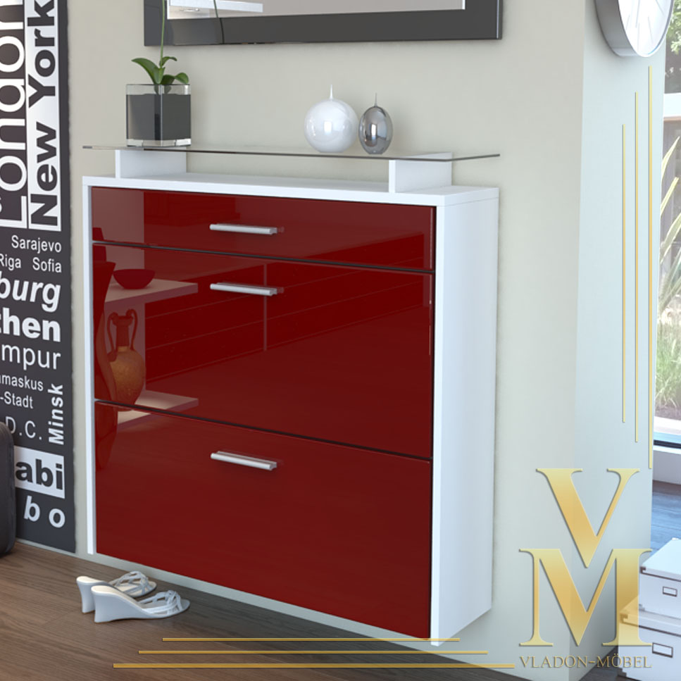 wall mounted shoe storage cabinet malea in white bordeaux highgloss ebay. Black Bedroom Furniture Sets. Home Design Ideas