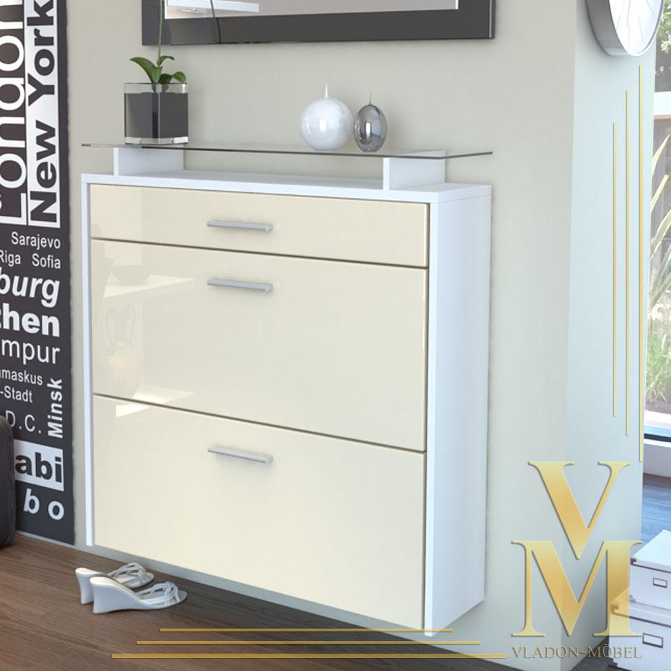 wall mounted shoe storage cabinet malea in white cream highgloss ebay. Black Bedroom Furniture Sets. Home Design Ideas