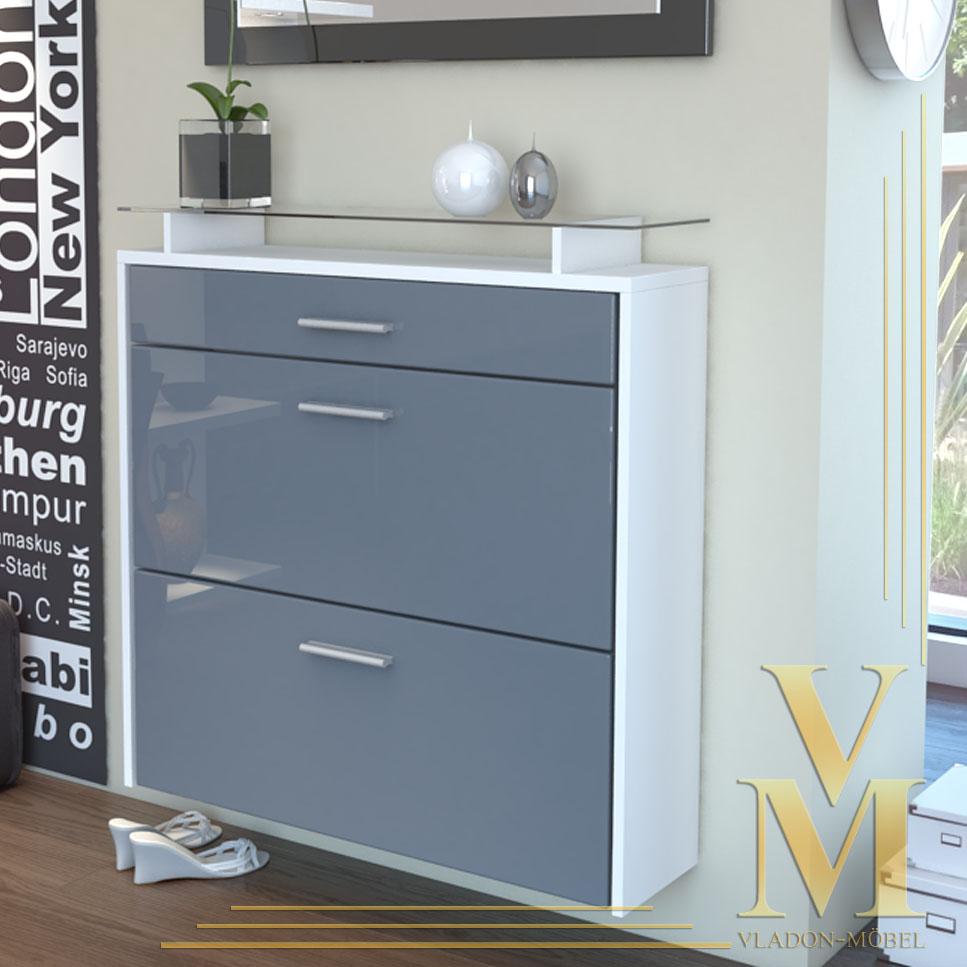 Wall mounted shoe storage cabinet malea white grey for Schuhschrank groay