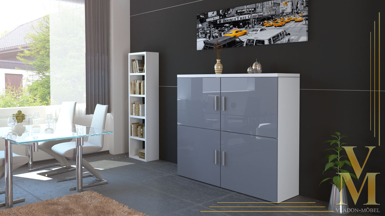 highboard sideboard schrank kommode mandy wei in. Black Bedroom Furniture Sets. Home Design Ideas