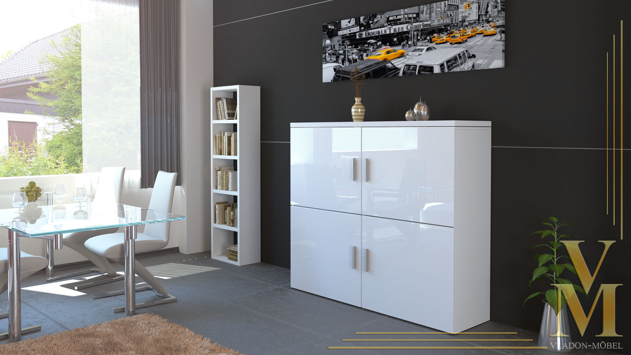 modernes highboard sideboard schrank kommode mandy in wei. Black Bedroom Furniture Sets. Home Design Ideas