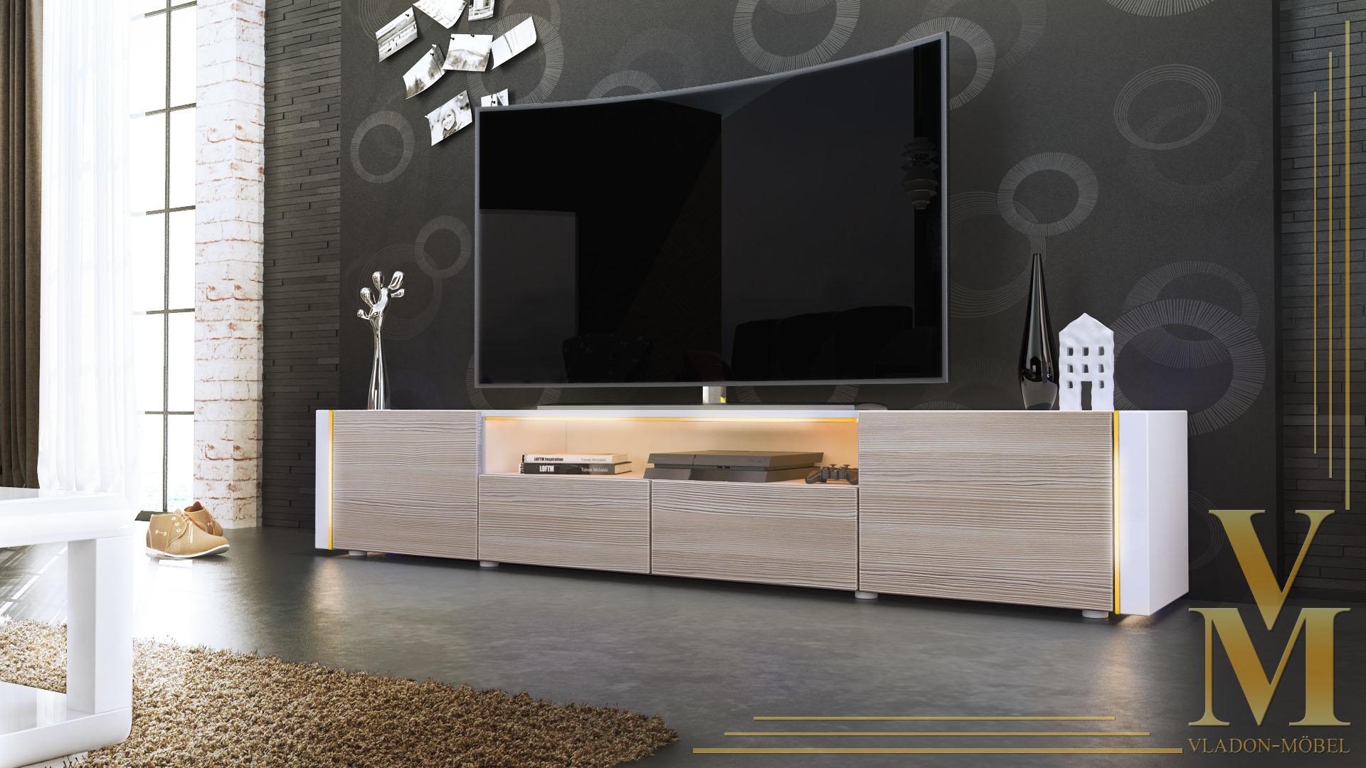 tv stand unit lowboard cabinet marino v2 white high. Black Bedroom Furniture Sets. Home Design Ideas