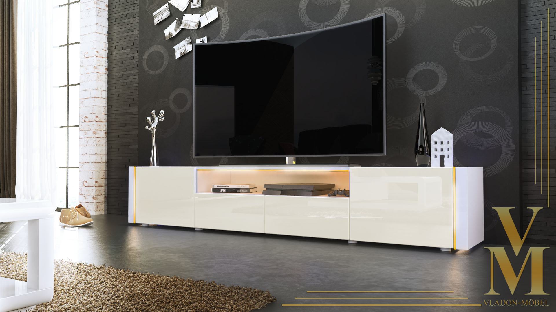 Tv Cabinet With Whiteboard Tv Stand Unit Board Lowboard Cabinet  # Vladon Meuble Tv