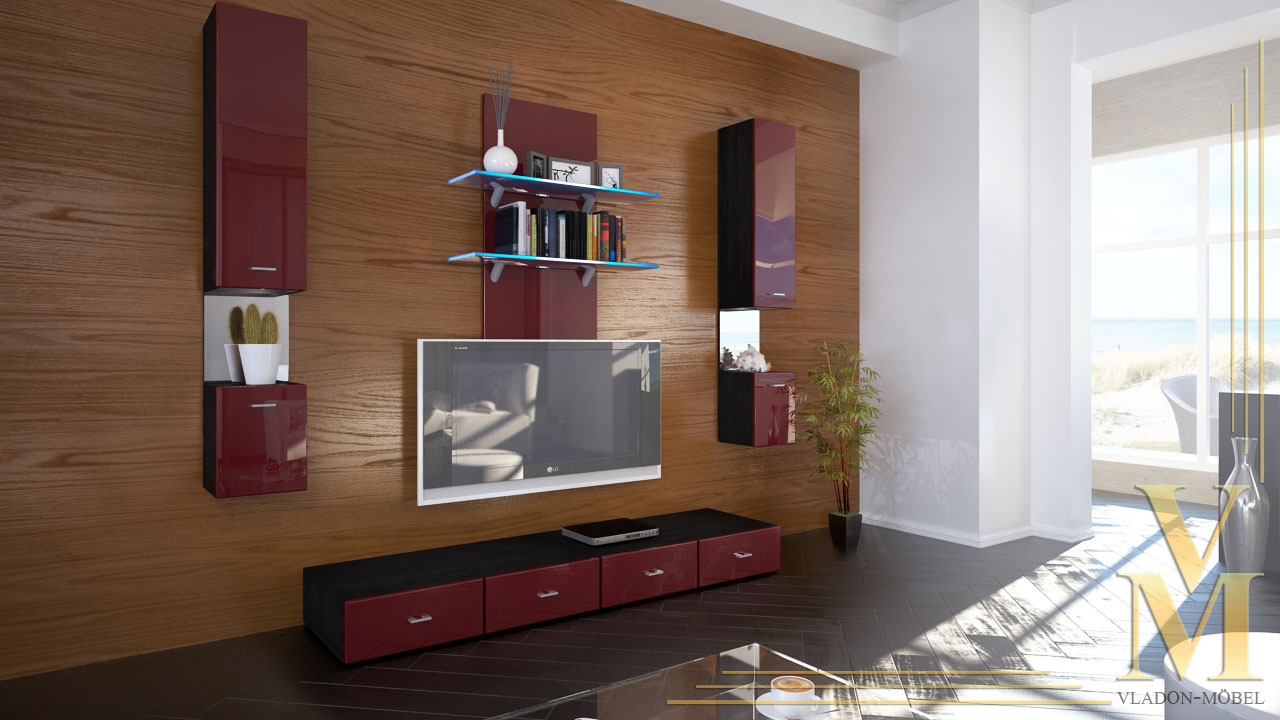 moderne wohnwand anbauwand schrankwand mesa in schwarz hochglanz naturt ne ebay. Black Bedroom Furniture Sets. Home Design Ideas