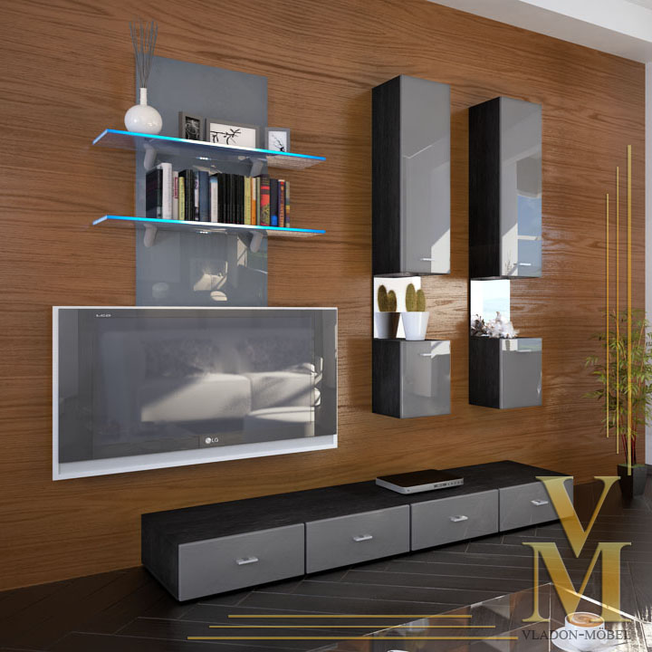 Wall Unit Living Room Furniture Mesa In Black Grey
