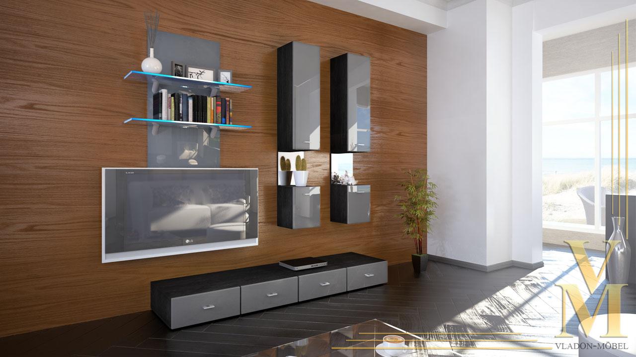 Moderne wohnwand anbauwand schrankwand mesa in schwarz for Wohnwand in schwarz