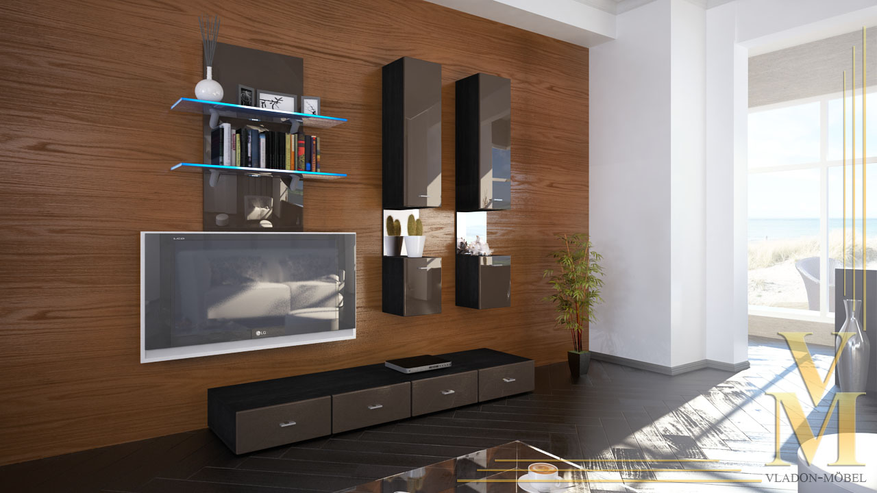 moderne wohnwand anbauwand schrankwand mesa in schwarz. Black Bedroom Furniture Sets. Home Design Ideas