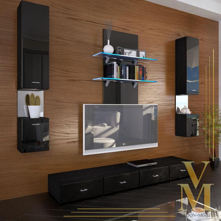 wohnwand anbauwand mesa hochglanz in verschiedenen farben. Black Bedroom Furniture Sets. Home Design Ideas