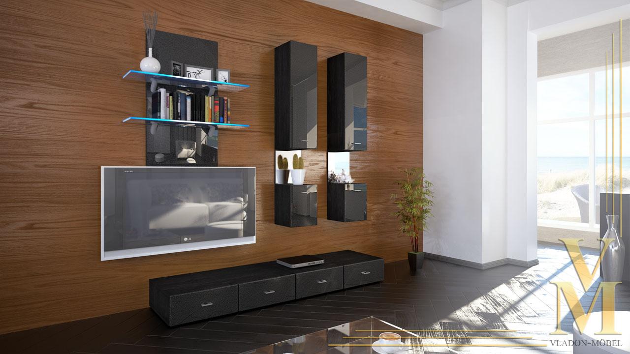 moderne wohnwand anbauwand schrankwand mesa in schwarz. Black Bedroom Furniture Sets. Home Design Ideas