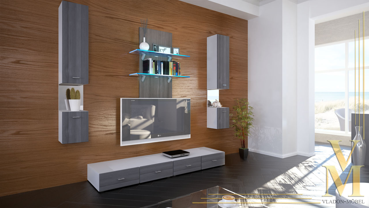 Wall Unit Living Room Furniture Mesa in White / Avola ...