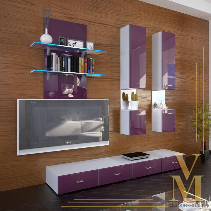 Wall Unit Living Room Furniture Mesa In White Raspberry Highgloss Ebay