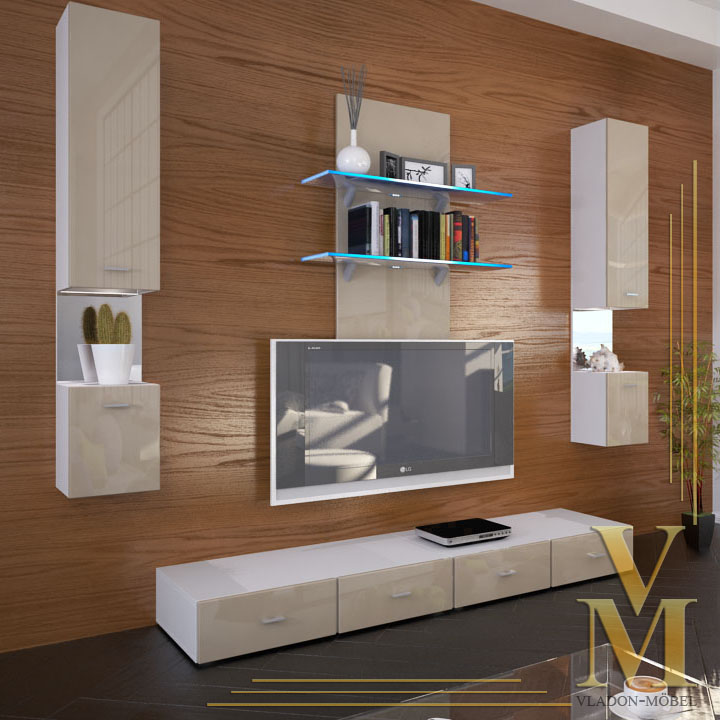 Wall Unit Living Room Furniture Mesa In White Sand Grey Highgloss Ebay