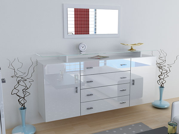 anrichte sideboard highboard nora hochglanz ver farben ebay. Black Bedroom Furniture Sets. Home Design Ideas