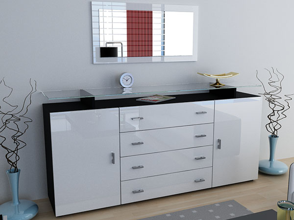 highboard schwarz wei top sideboard highboard kommode flow in wei oder schwarz hochglanz. Black Bedroom Furniture Sets. Home Design Ideas