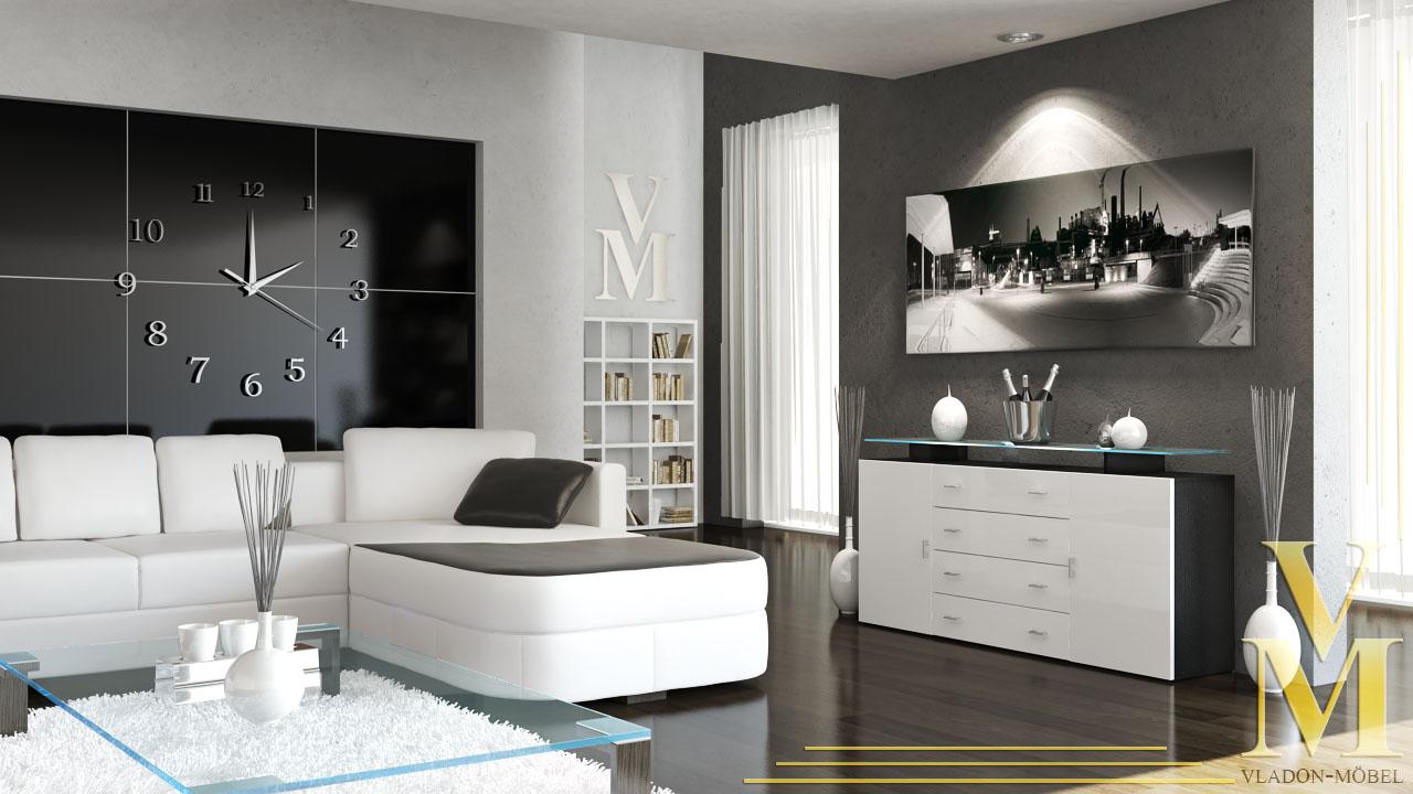 sideboard tv board cabinet mesa v2 in black white. Black Bedroom Furniture Sets. Home Design Ideas