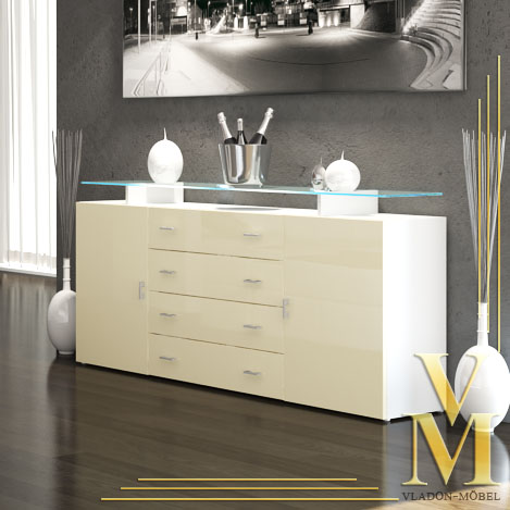 sideboard anrichte tv board mesa v2 in hochglanz ebay. Black Bedroom Furniture Sets. Home Design Ideas