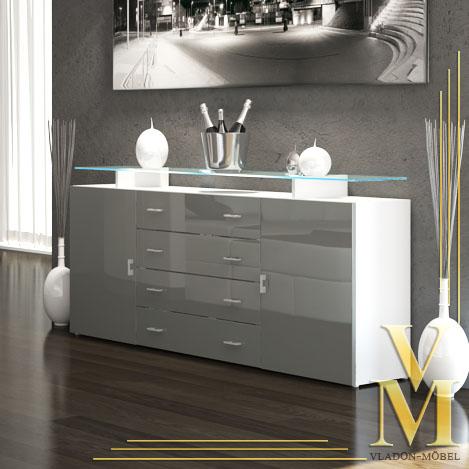 sideboard tv board cabinet mesa v2 in white grey. Black Bedroom Furniture Sets. Home Design Ideas