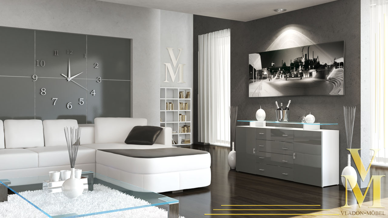 wohnzimmer grau weiß lila:White Gloss Chest of Drawers
