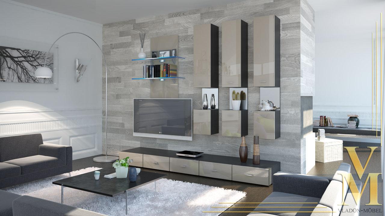 Bemerkenswert Moderne Schrankwand Referenz Von Moderne-anbauwand-wohnwand-schrankwand-mesa-v2-schwarz-hochglanz-